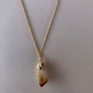 Jewelry - Gold plated raw citrine necklace